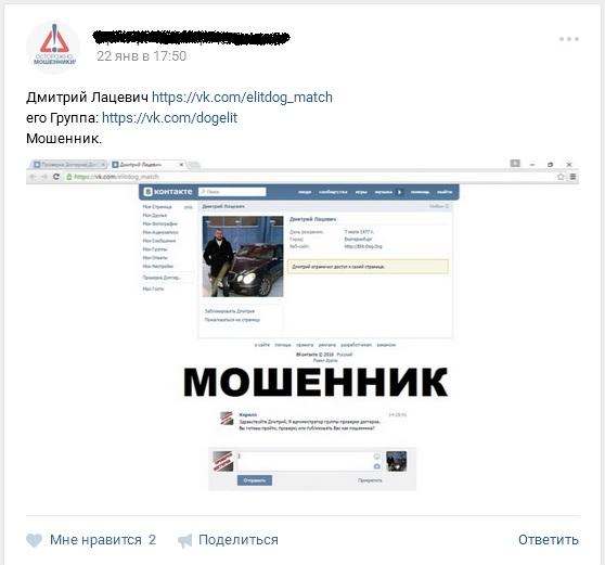 Отрицательный отзыв о мошеннике по договорным матчам Дмитрии Лацевиче вконтакте мошеннически сайт elit-dog.org №6