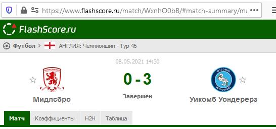 Скрин результата договорняка за 8 мая 2021 года в сервисе FlashScore